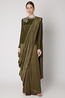Olive Green Embroidered Pre-stitched Saree Set by Abstract by Megha Jain Madaan