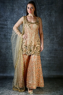Peach & Gold Embroidered Sharara Set by azuli by nikki
