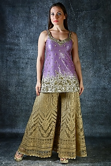 Purple Embroidered Sharara Set by azuli by nikki