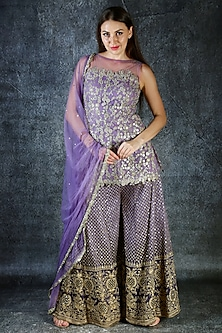 Lilac Embroidered Sharara Set by azuli by nikki
