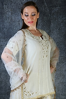 Ivory Embroidered Sharara Set by azuli by nikki