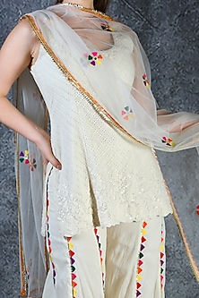 Yellow Embroidered Sharara Set by azuli by nikki