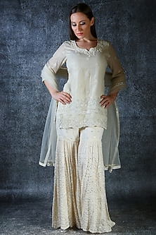 Ivory Self Embroidered Sharara Set by azuli by nikki