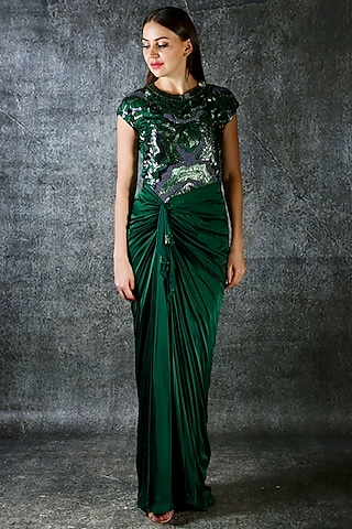 Emerald Green Embroidered Drape Gown by azuli by nikki