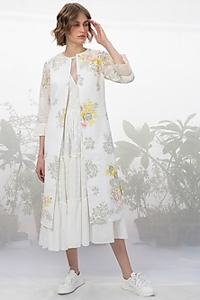 Ivory Printed Jacket & Dress by Arcvsh by Pallavi Singh
