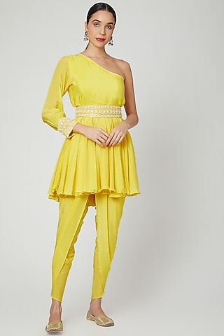 Yellow Embroidered One Shoulder Top, Dhoti & Belt by Adara by Sheytal
