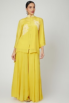 Yellow Short Embroidered Kurta With Pants by Adara by Sheytal-POPULAR PRODUCTS AT STORE