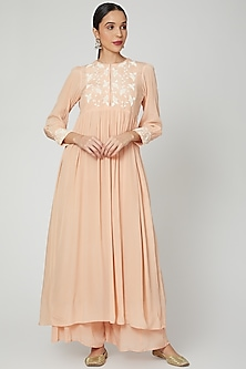 Blush Pink Long Embroidered Kurta With Pants by Adara by Sheytal-POPULAR PRODUCTS AT STORE