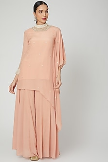 Blush Pink Embroidered Kaftan With Dhoti by Adara by Sheytal