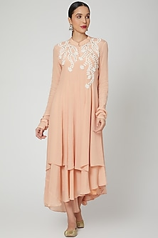 Blush Pink Embroidered Layered Kurta & Dress by Adara by Sheytal-POPULAR PRODUCTS AT STORE