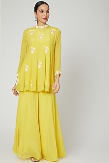 Yellow Embroidered Kalidar Kurta & Pants by Adara by Sheytal-POPULAR PRODUCTS AT STORE