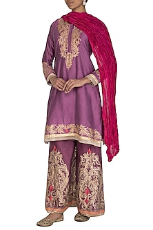 Purple Embroidered Sharara Set by Abhi Singh