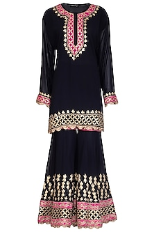 Deep Blue Embroidered Gharara Set by Abhi Singh