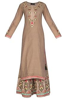 Brown Embroidered Sharara Set by Abhi Singh
