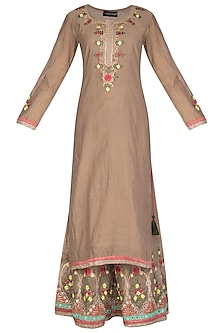 Brown Embroidered Sharara Set by Abhi Singh