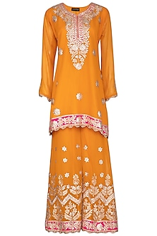 Mango Yellow Embroidered Sharara Set by Abhi Singh