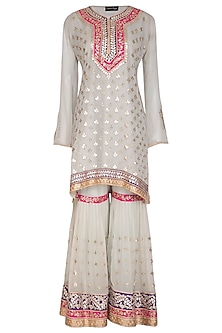 Powder Blue Embroidered Pleated Gharara Set by Abhi Singh