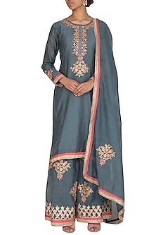 Peacock Blue Embroidered Gharara Set by Abhi Singh-SHOP BY STYLE