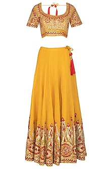 Turmeric Yellow Embroidered Lehenga Set by Abhi Singh