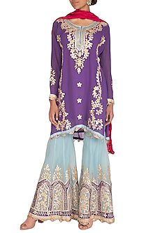 Violet & Turquoise Embroidered Gharara Set by Abhi Singh