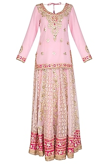 Soft Pink Embroidered Lehenga Set by Abhi Singh