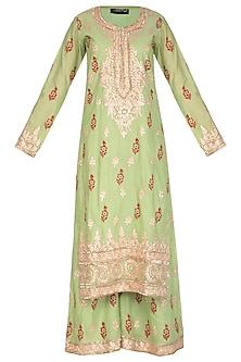 Parrot Green Block Printed & Embroidered Sharara Set by Abhi Singh