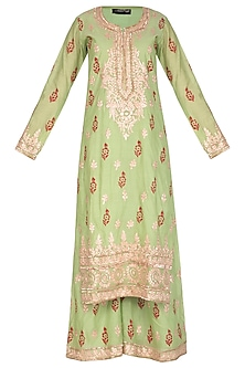 Parrot Green Block Printed & Embroidered Sharara Set by Abhi Singh