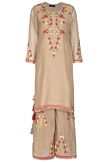 Beige Embroidered Sharara Set by Abhi Singh