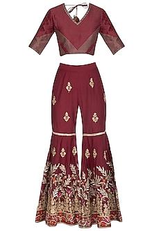 Maroon Embroidered Gharara Set by Abhi Singh