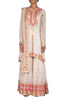 Off White Embroidered Gharara Set by Abhi Singh-SHOP BY STYLE