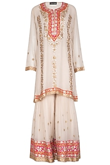 Off White Embroidered Gharara Set by Abhi Singh