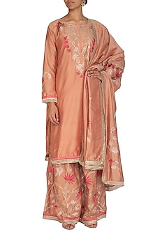 Peach Embroidered Sharara Set by Abhi Singh