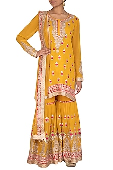 Haldi Yellow Embroidered Gharara Set by Abhi Singh