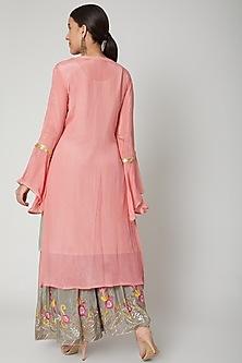 Pink & Grey Embroidered Gharara Set by Abhi Singh