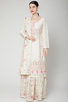 Off White Embroidered Lehenga Set by Abhi Singh