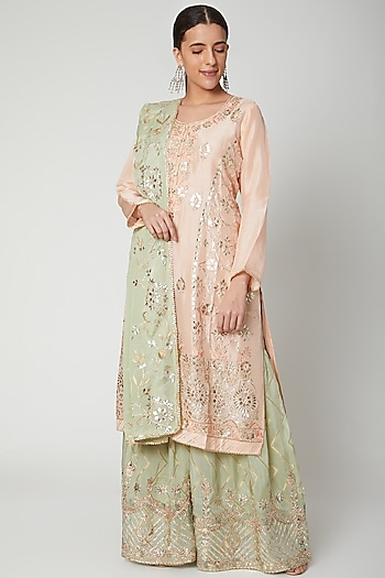 Peach & Green Embroidered Gharara Set by Abhi Singh