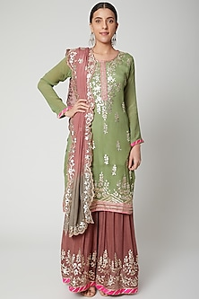 Green & Pink Gota Embroidered Gharara Set by Abhi Singh