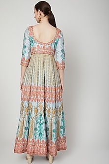 Turquoise Blue Embroidered Anarkali With Dupatta by Abhi Singh