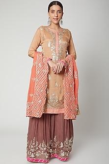 Beige & Rust Brown Embroidered Gharara Set by Abhi Singh