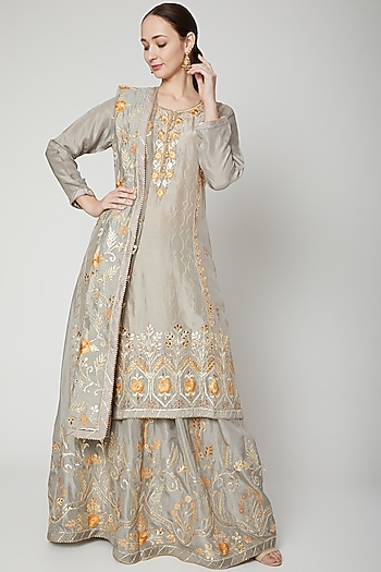 Grey Embroidered Lehenga Set by Abhi Singh