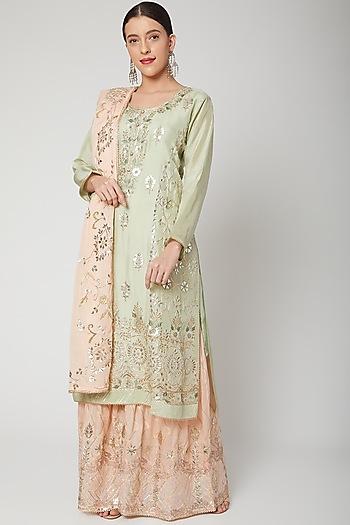 Sea Green & Peach Embroidered Gharara Set by Abhi Singh