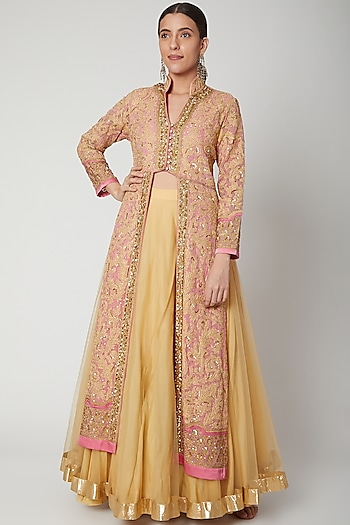 Beige Jacket With Yellow Skirt by Abhi Singh
