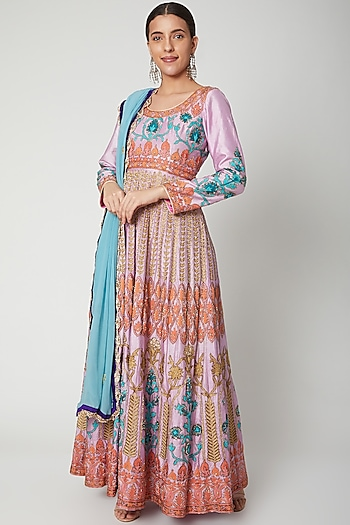Mauve Embroidered Anarkali With Dupatta by Abhi Singh