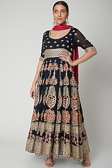 Deep Blue Embroidered Anarkali With Dupatta by Abhi Singh