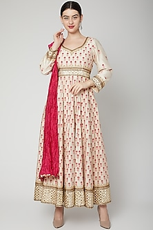 Beige Embroidered Anarkali With Dupatta by Abhi Singh-SHOP BY STYLE