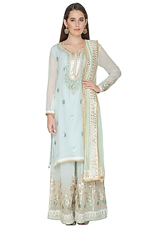 Sky Blue Embroidered Sharara Set by Abhi Singh