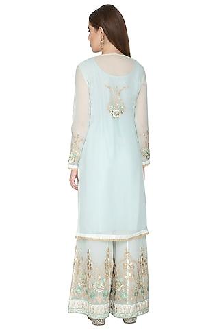 Sky Blue Embroidered Sharara Set by Abhi Singh