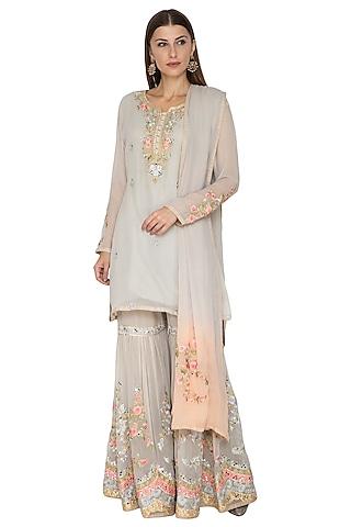 Grey Embroidered Gharara Set by Abhi Singh