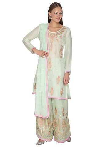 Mint Green Embroidered Sharara Set by Abhi Singh