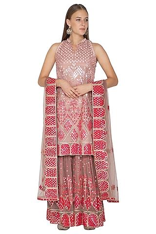 Blush Pink Embroidered Gharara Set by Abhi Singh